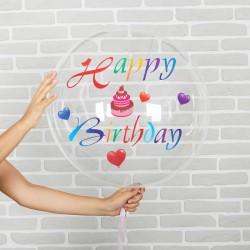 """Шар полимерный 16"""" """"С днем рождения"""" прозрачный с наклейками торт, лента, 1 шт 3530294"""