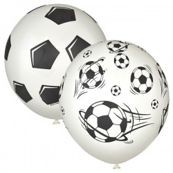 "MP 12""/30см Пастель WHITE (шелк) 5 ст. рис Футбол 25шт шар латекс"
