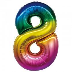 "Шар Цифра ""8"" радуга 86 см"