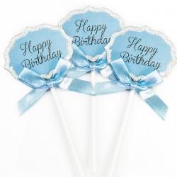 Топпер в торт, Happy Birthday (серебряный глиттер), Голубой, 3 шт.