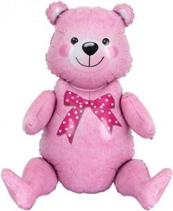 Шар Фигура Сидячий мишка Розовый 81 см