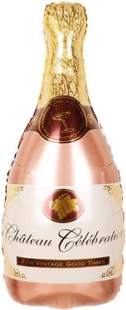 Шар Фигура Бутылка Шампанское Розовое Золото 91 см