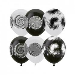 "MP 12""/30см BLACK&WHITE (шелк) 4 ст. рис Иллюзия 25шт шар латекс"