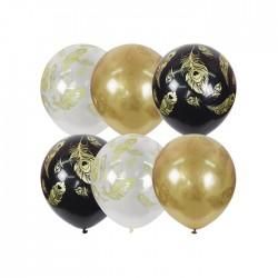 "MP 12""/30см BLACK&GOLD&TRANSPARENT (шелк) 5 ст. рис Перо Павлина 25шт шар латекс"