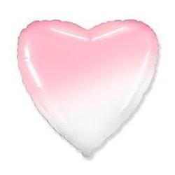 Шар Сердце Бело-Розовый градиент 46 см