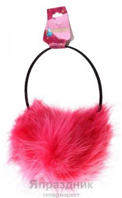 Ободок наушник пушистк розовый
