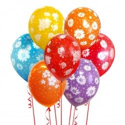 Набор из 7 шаров Ассорти Цветы Матовый 30 см