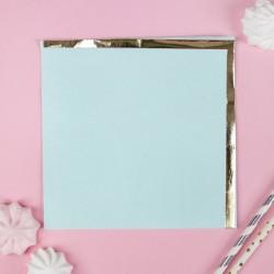 Салфетки бумажные 33х33 см, 16 шт, цвет голубой, тиснение