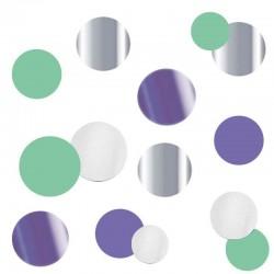 Конфетти Круги Микс лавандовые фольгированные, бумажные 2,5 см