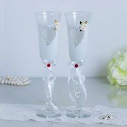 Набор свадебных бокалов «Сердце», белый 2882255