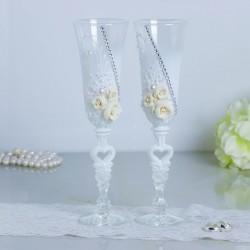 """Набор свадебных бокалов """"Розы"""", с лепниной и сердцем на ножке, белый"""
