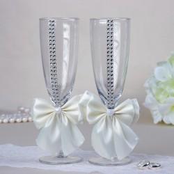 """Набор свадебных бокалов """"Элит"""", с бантом и стразами, кремовый 2261012"""