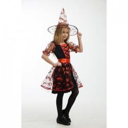 """Карнавальный костюм """"Ведьма в красном"""", платье, головной убор,пояс, р.28, рост 110 см 5017397"""