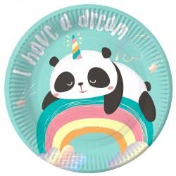 "Тарелки 18 см ""Панда на радуге"" / набор 6 шт. / (Китай)"