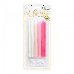 """Свечи тортовые классические XL""""Микс с глиттером"""" Розовый, нежно-розовый, персиковый, белый с держате"""