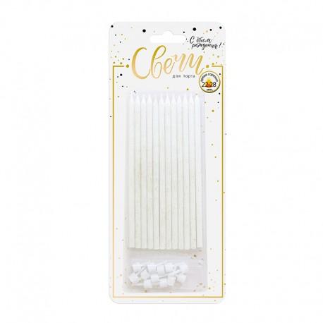 Свечи тортовые классические XL с золотым глиттером с держателями / 12 шт., 15 см / (Китай)