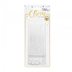 Свечи тортовые классические XL с серебряным глиттером с держателями / 12 шт., 15 см / (Китай)