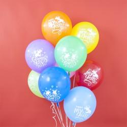 Воздушный шар (12''/30 см) Год Белого Быка, Happy 2021, С Новым Годом!, Ассорти, пастель, 2 ст, 50 ш