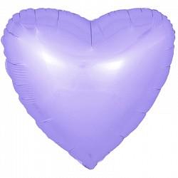 Шар (18''/46 см) Сердце, Сиреневый, Сатин, 1 шт.