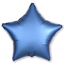 Шар (19''/48 см) Звезда, Лазурь, Сатин, 1 шт.