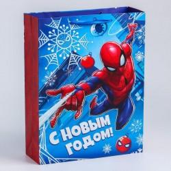 Пакет ламинат вертикальный, Человек-паук, С Новым годом! 31х40х11 см