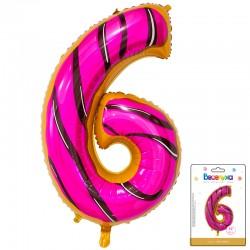 К 34 Цифра 6 Пончик в упаковке / Six Donut / 1 шт / (Китай)