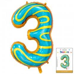 К 34 Цифра 3 Пончик в упаковке / Three Donut / 1 шт / (Китай)