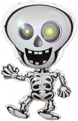Шар с клапаном (13''/33 см) Мини-фигура, Танцующий скелет, 1 шт.