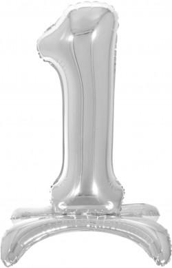 Шар (32''/81 см) Цифра, 1 на подставке, Серебро, 1 шт. в упак.