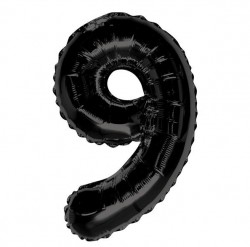"K Фигура Цифра 9 черная 34""/86см шар фольга"