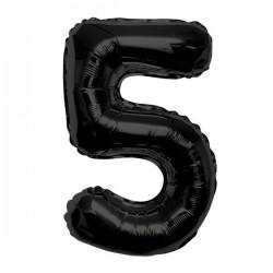 "K Фигура Цифра 5 черная 34""/86см шар фольга"