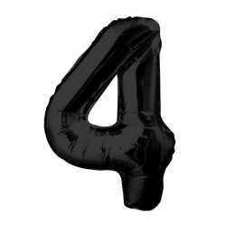 "K Фигура Цифра 4 черная 34""/86см шар фольга"