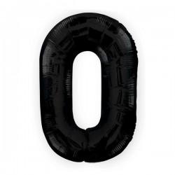 "K Фигура Цифра 0 черная 34""/86см шар фольга"