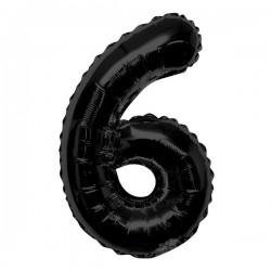 "K Фигура Цифра 6 черная 34""/86см шар фольга"