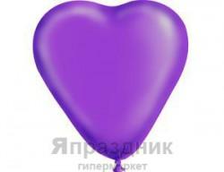 """Сердце 10"""" Кристалл Фиолетовое /Ит"""