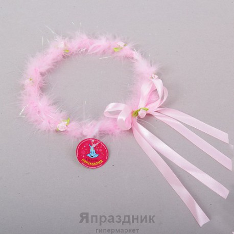 """Венок меховой """"Леди"""" с цветочками"""
