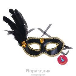 Карнавал маска черная кант золото с перьями 10*18