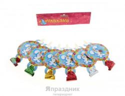 """Язычок кругляш 7см """"С днем рождения!"""" зайка (набор 6 шт)"""