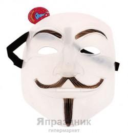 Карнавальная маска пластик Гай Фокс светоотражающая 20см