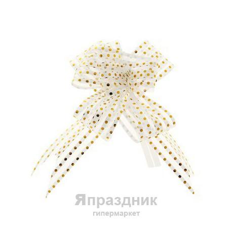 Бант-бабочка №3,2 органза золотой горох на белом