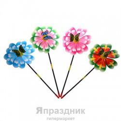 Ветерок мягкий пластик на пружине бабочка два цвета 47*22