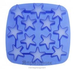Форма для льда и шоколада силикон 17*17 см 12 ячеек Звезда