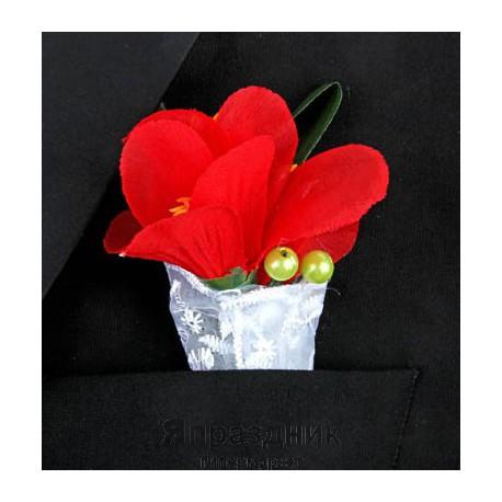 Бутоньерка but-60 бордовый цветок с бутонами