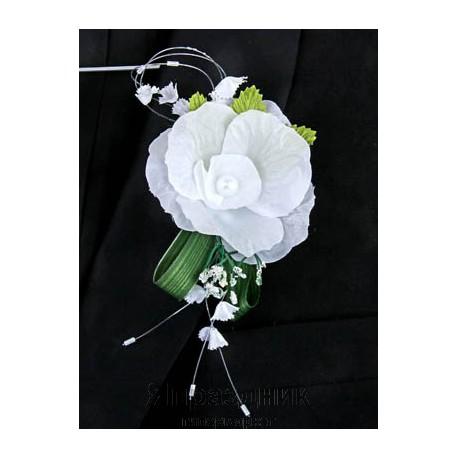 Бутоньерка but-61 белый цветок с жемчугом