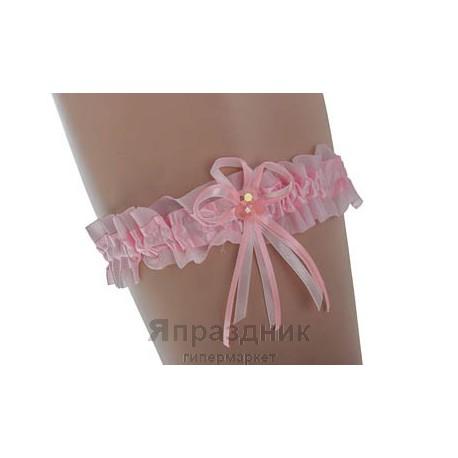 Подвязка podv-1 розовая с бантом и цветами
