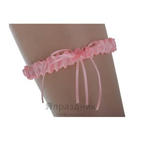 Подвязка podv-18 розовая узкая с бантиком