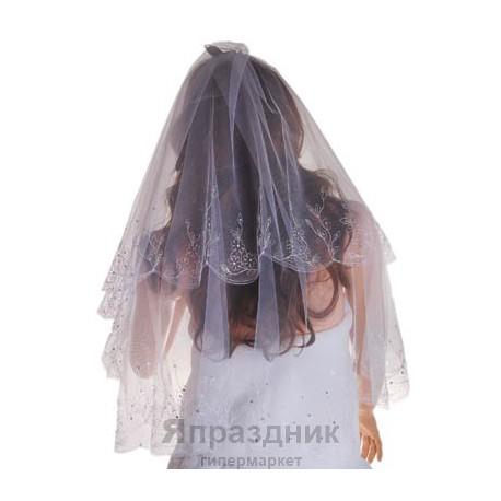 Фата машинная вышивка стразы 1,5 белая