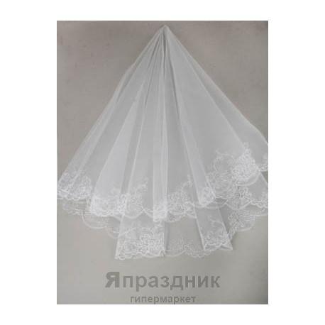 Фата невесты KMR_0183 белая 1,5х1,5