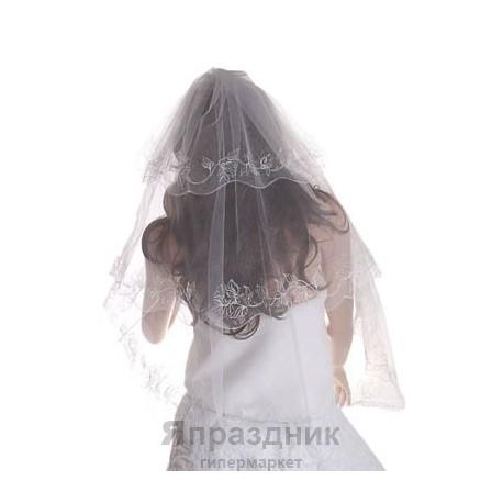 Фата с вышивкой 3 слоя белая 1,5 м