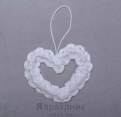Подвес-сердце podves-1 (два ряда розочек) белый 15х15 см